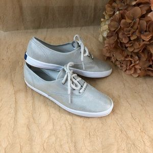 Keds silver sparkles .lace-up sneakers SZ 7